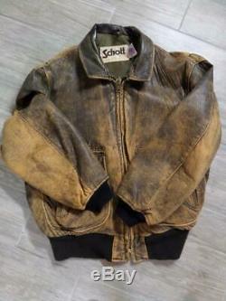 Antiquaire Vintage Schott Cuir Blouson Brun Moyen Court