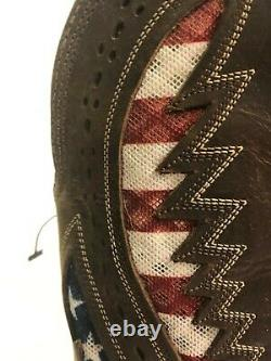 Ariat Quickdraw Venttek Hommes 9 Wide Western Distressed Brown American USA Flag