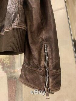 Auth Gucci Guccissima Distressed Blouson En Cuir Moto Gg XL 60 4495 $