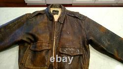 Avirex A-2 Distressed Leather Jacket Flight Pilot Bomber Hommes Taille Grand