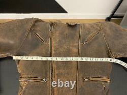 Avirex Small Brown Leather Biker Jacket Vtg Distressed Moto 70s Bomber A2 Rugged
