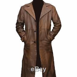 Batman Dawn Of Justice Knightmare Brown Distressed Trench-coat En Cuir Toutes Les Tailles