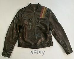 Belstaff Prince Noir Affligé Brown Veste Motard En Cuir Taille 42 Très Rare