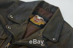 Billings Distressed Brown Veste En Cuir Winged Hd Logo M Harley Davidson Hommes