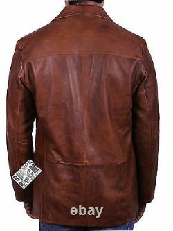 Brandslock Mens En Cuir Véritable Blazer Vintage Casual Intelligent Détresse Desighn