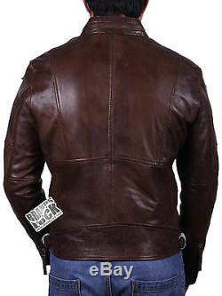 Brandslock Mens Véritable Motard En Cuir Veste Slim Fit Distress Vintage Classique