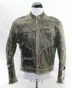 Brown Distressed Veste Vintage En Cuir De L De Harley Davidson Hommes