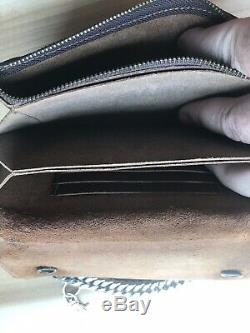 Brown Véritable Portefeuille En Cuir Withcarry Chaîne Et Design Distressed Zippered