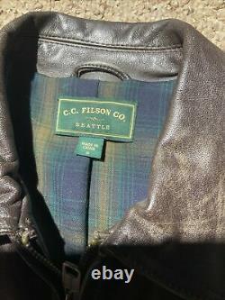 CC Filson Co. Seattle Brown Veste En Cuir En Détresse Taille Petit Plaid Doublé