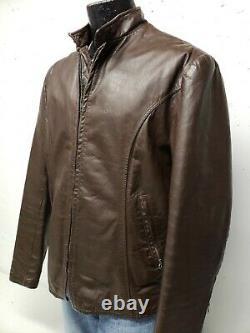 Cafe Racer Leather Distressed Motorcycle Biker Jacket Vintage 60's Men's Large
