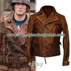 Captain America The First Avengers Distressed Brown Biker Réel Veste En Cuir