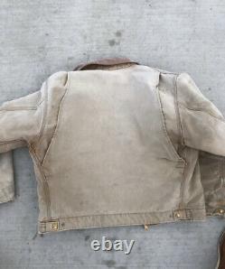 Carhartt Detroit Blanket Lined Jacket Tan Size Moyenne Détresse Thrashed Vtg