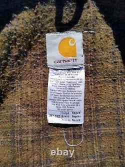 Carhartt J97 Cht Detroit Brun Veste Blanket Doublée Distressed Large USA Vtg