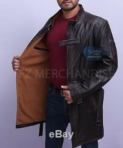 Chiens Aiden Pearce Montre Distressed Brown Véritable Trench-coat En Cuir