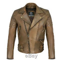 Classique Diamant Motard Brown Distressed Vintage Vestes En Cuir Armure