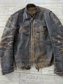 Cuir Vintage Brooks 60 Cafe Racer Veste Brune 38-40 Distressed Patch Harley