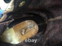 Détresse Pdt USA Oxblood Leather Lace Up Western Granny Kiltie Westernboots 9m