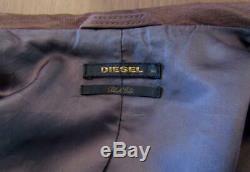 Diesel Black Gold Veste En Cuir En Peau De Mouton Rrp £ 895 Eu48 Medium Brown Distressed