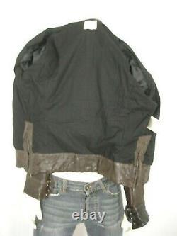 Diesel Brown Distressed Vintaged Sheepskin Leather Zip Front Jacket Homme L