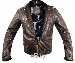 Diesel Lumi Hommes Cuir Perfecto Manteau Affligée Vintage XL XXL Skull Bull