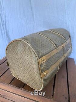 Distressed Grand Vintage Gucci Authentique Tan Toile Et Cuir Garniture Sac Rond