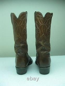 Distressed Honey Brown Leather Lucchese Rockabilly Buckaroo Boots Sz 10,5 B