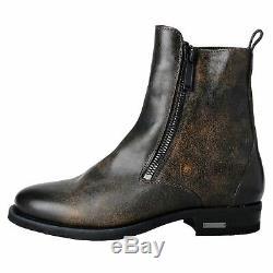 Dsquared2 Distressed Brown Hommes En Cuir Zipper Chaussures Bottes Chelsea Us 8 It 41
