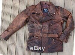 Eddie 3/4 Hommes Moto Long Motard Brown Distressed Vintage Vestes En Cuir