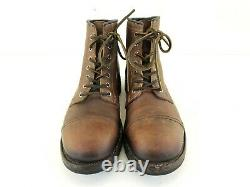Frye Mens Distressed Brown Leather Logan Cap Toe Boots Taille 10.5d