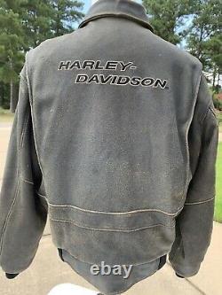 Harley Davidson Billings Brown Blouson En Cuir Mens XL Distressed