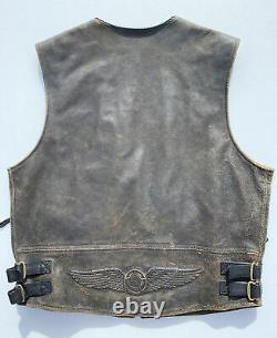 Harley Davidson Billings Distressed Brown Leather Vest Grand Motard Homme