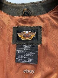 Harley Davidson Billings Distressed En Cuir Brun Gilet Hommes Grand Biker