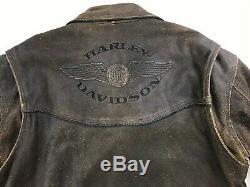 Harley Davidson Billings Distressed Veste Moto En Cuir Brun Moyen