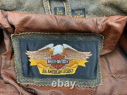 Harley Davidson Billings Veste En Cuir Brun Homme Grande Monnaie En Détresse