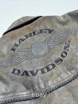 Harley Davidson Billings Veste En Cuir Brun Hommes Petite Détresse