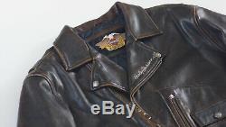 Harley Davidson Brown Distressed Hommes En Cuir Vintage Veste D-pocket 2xl Rare