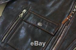 Harley Davidson Brown Distressed Hommes En Cuir Vintage Veste D-xl Pocket Rare