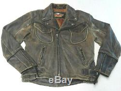 Harley Davidson Distressed Brown Billings En Cuir Veste Manteau Moyen Med 181