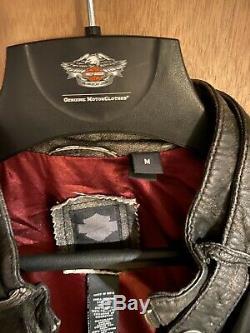 Harley Davidson Distressed En Peau D'agneau Veste En Cuir 97131-16vm Taille Moyenne