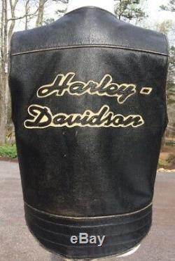 Harley Davidson Distressed Veste En Cuir Noir Bronco Grand Brown Men