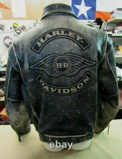 Harley Davidson Homme Hd Distressed Brown Leather Jacket XL