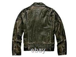 Harley Davidson Hommes Brown Cuir Détresse 1 Skull Moto Riding Biker Veste L