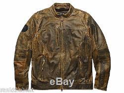 Harley Davidson Hommes Miramar Distressed Brown Veste En Cuir Lt L Grand 97128-16vm