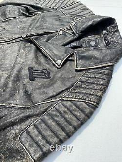 Harley Davidson Hommes Noir Étiquette #1 Crâne Veste En Cuir Décontraction 97174-17vm