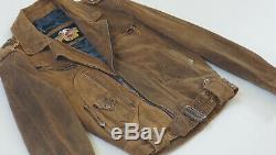 Harley Davidson Hommes V-twin D-pocket Made In USA Distressed Brown M Veste En Cuir