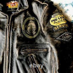 Harley Davidson Men's Sz S Motorcruise Jacket Distressed Leather Dark Brown