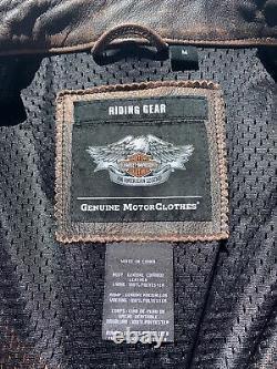 Harley Davidson Mens Chaussée Distressed Brown Veste En Cuir 98002-11vm Medium