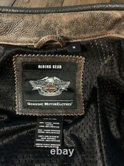 Harley Davidson Mens Roadway Veste En Cuir Brun En Détresse 98002-11vm Moyen