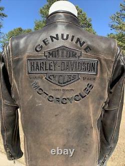 Harley Davidson Mens Roadway Veste En Cuir Brun En Détresse Moyen