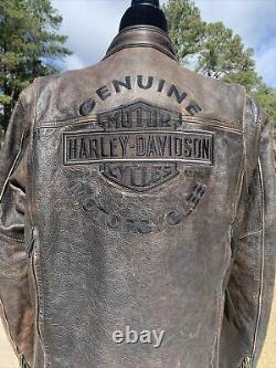 Harley Davidson Mens Roadway Veste En Cuir Brun En Détresse Petite